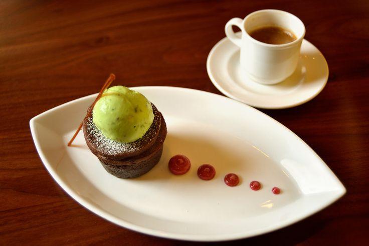 ... Chocolate Cake cherry custard sauce, cocoa sable, pistachio ice cream
