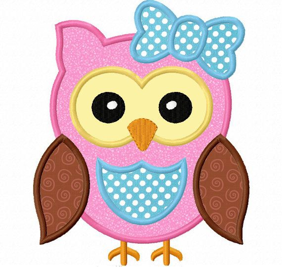 Instant download owl girl applique machine embroidery