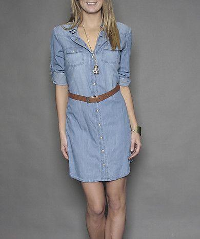 Denim Shirt Dress with Belt - Suzy Shier | Dresses | Pinterest