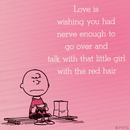 Love is charlie brown on the girl with the red hair snoopy