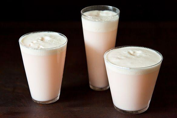 ... lemon, lime, rhubarb syrup, heavy cream, rosewater, egg white & soda