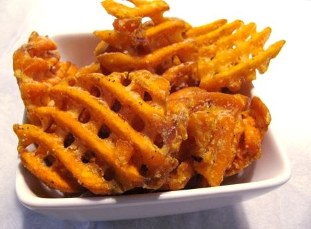 ... sweet potato fries sweet potato waffle fries are candied bacon sweet