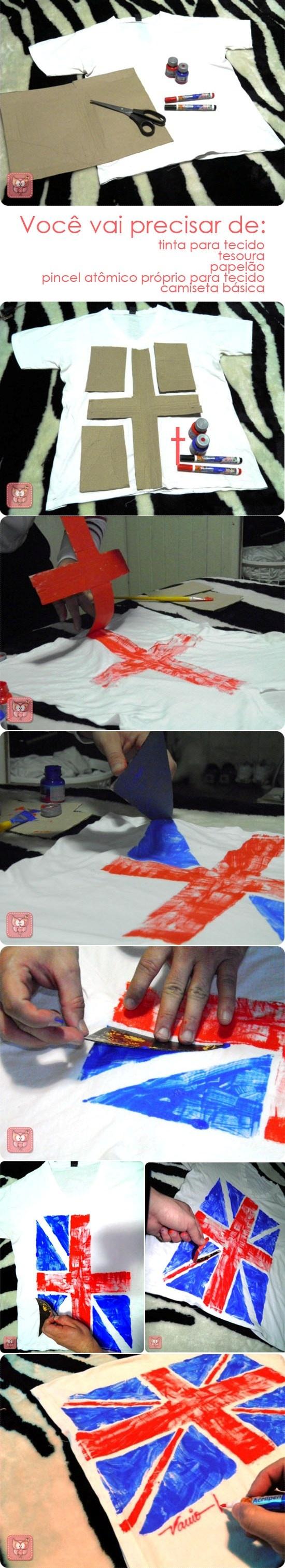 Estampa de camiseta com tinta para tecido.