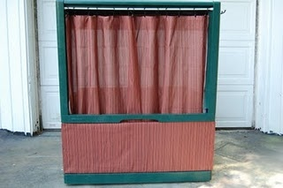 Old TV cabinet made into a puppet theater.  Genius!