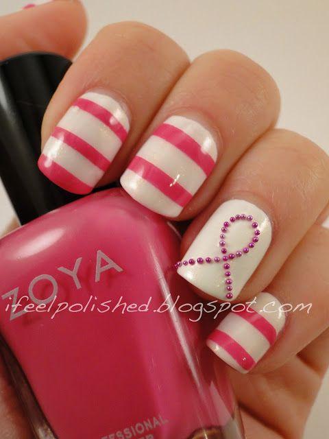 Breast Cancer Awareness Nails | Nail design | Pinterest