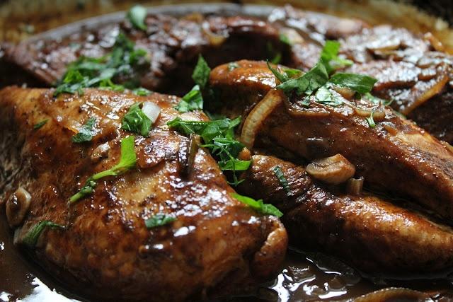 Corn Chowder, Braised Chicken with Fig Balsamic Vinegar Glaze, Wild M ...