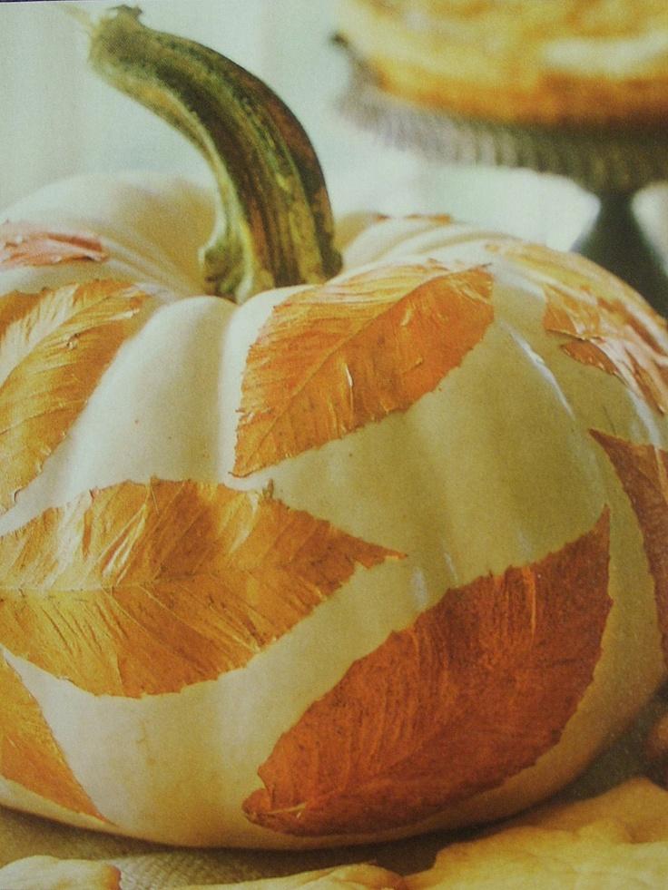 Mod podge fall leaves on a pumpkin fall decorating ideas for Fall pumpkin decorating ideas