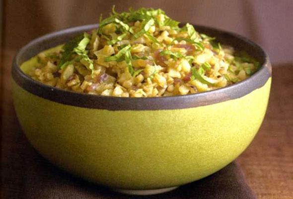 "Cauliflower ""Couscous"" with Basil-Lemon Sauce"