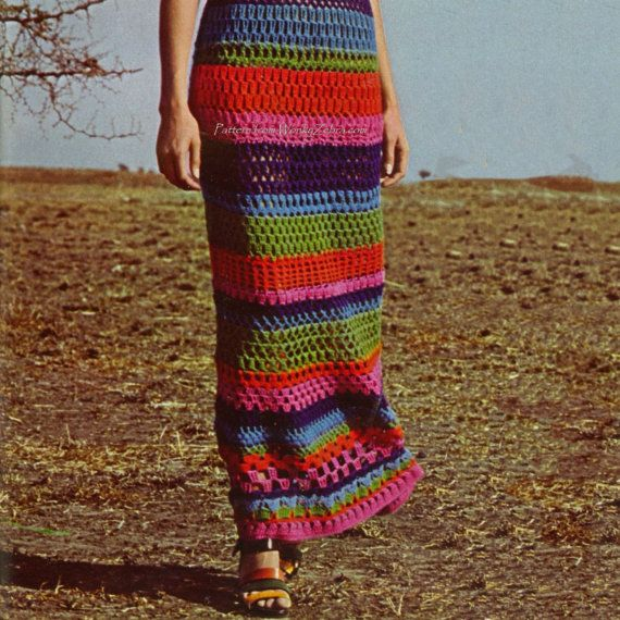 Granny Square Crochet Maxi Dress Vintage Pattern PDF ...