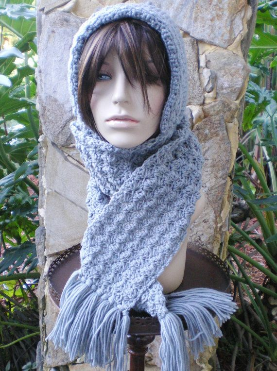 Knitting Pattern For Hat With Scarf Attached : hand knit hood scarf hat - attached hand crochet scarf space needle g?