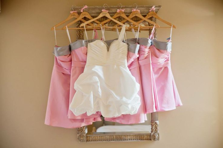 Pink bridesmaids dresses silver band short white wedding dress