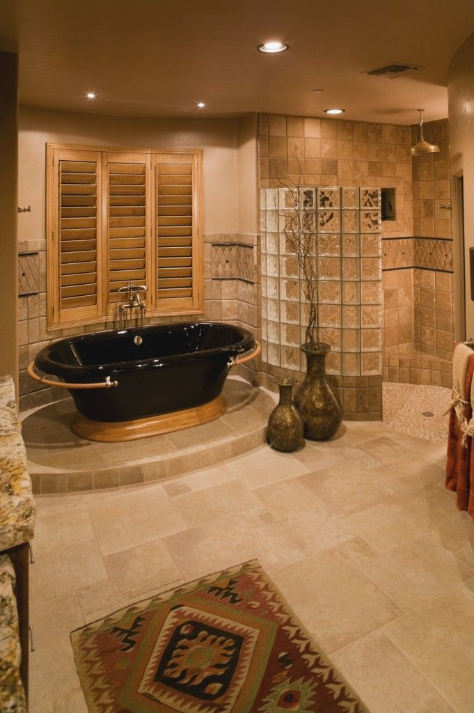 Two of my favorite things - a walk in shower with no door to clean and a deep soaking tub!