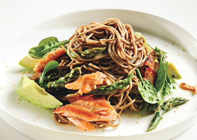 Looks good-- Soba Noodle Salad with Salmon and Asparagus http://www ...