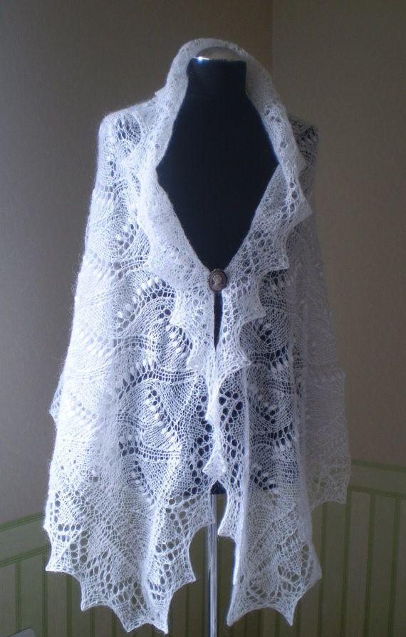 Knitting Pattern For Wedding Shawl : White hand knitted triangular wedding shawl, evening shawl, wrap, kid?
