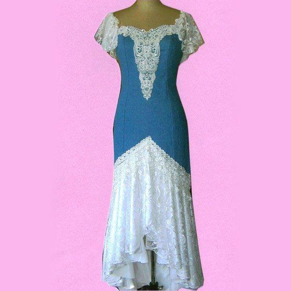 Denim wedding dress amy39s wedding pinterest for Western denim wedding dresses