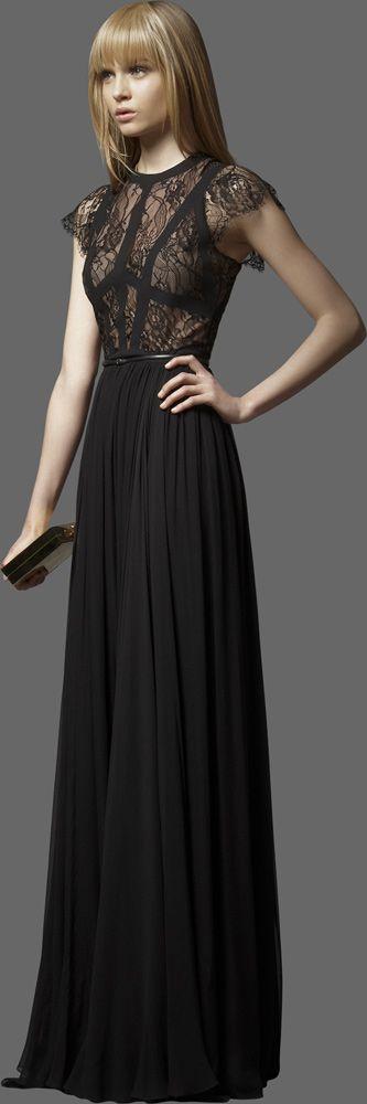 elie saab black lace dress