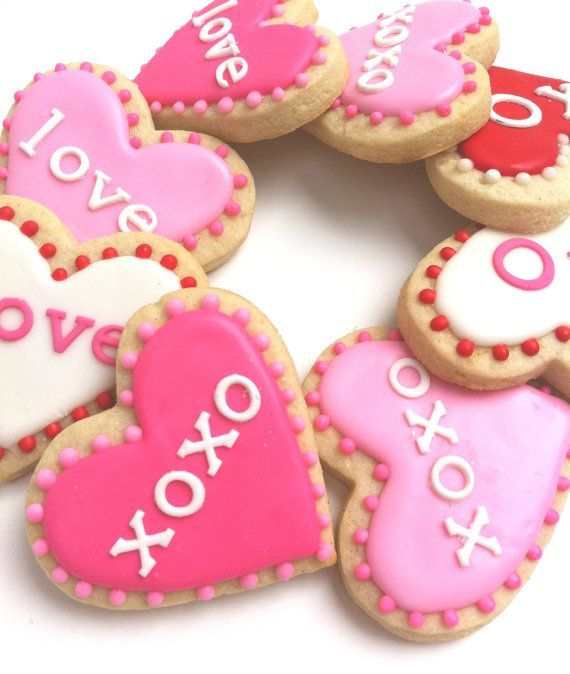 hugs amp kisses x amp o hot pink valentine # heart # cookies