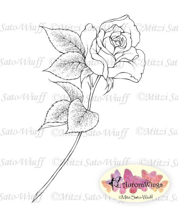 Digital Stamp Single Stem Rose digistamp Instant by AuroraWings, $3.00