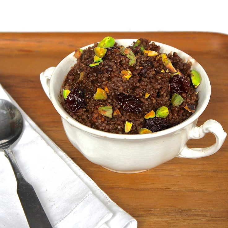 Chocolate Breakfast Quinoa with Cherries & Pistachios. Make your ...