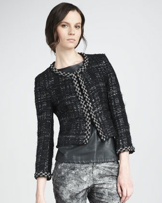 Alice + Olivia Lucca Tweed Jacket, Crystal Leather-Front Top & Printed Skinny Cargo Pants - Neiman Marcus