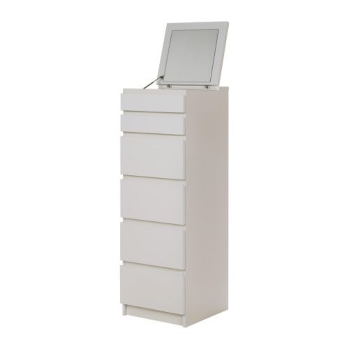 Malm 6 drawer chest white mirror glass - Meuble rangement maquillage ...