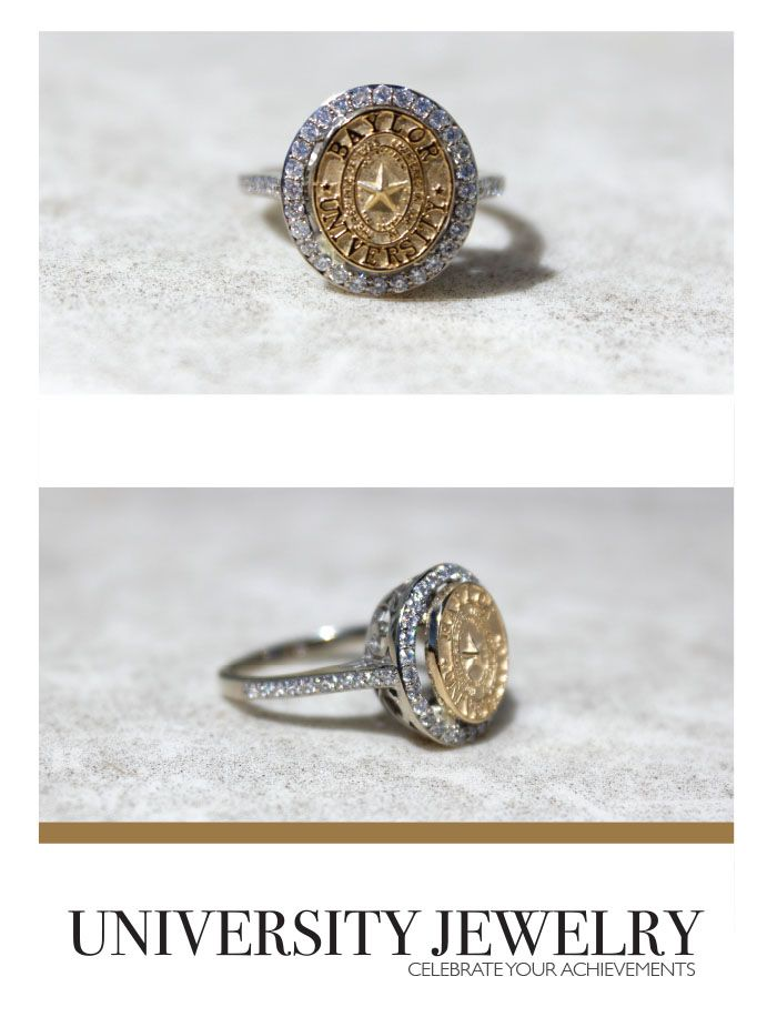 baylor university class seal ring with a beautiful diamond