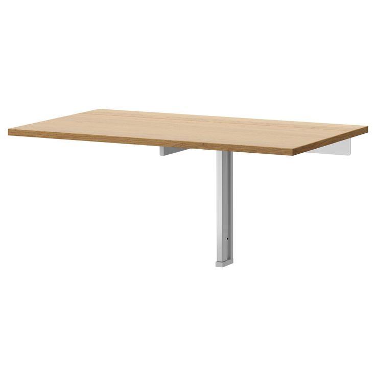 Bjursta wall mounted drop leaf table oak veneer - Wall mounted drop leaf table white ...