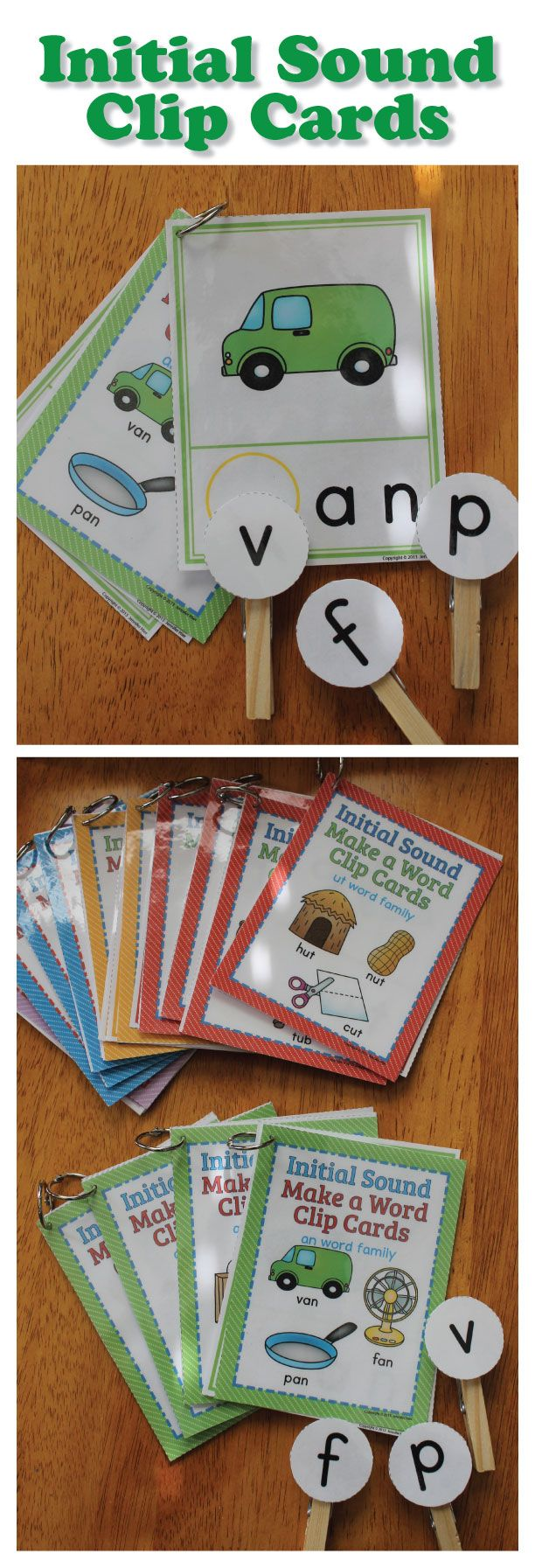 gold charm CVC Initial Sound Make a Word Clip Cards Interactive Phonics Fun