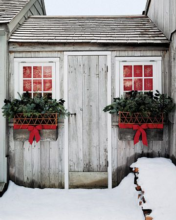 Winter Window Boxes-love this idea for our garage windows!!!!!!!