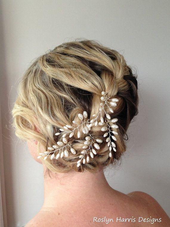 Bridal Hair With Pins : Fern leaf pearl hair bridal