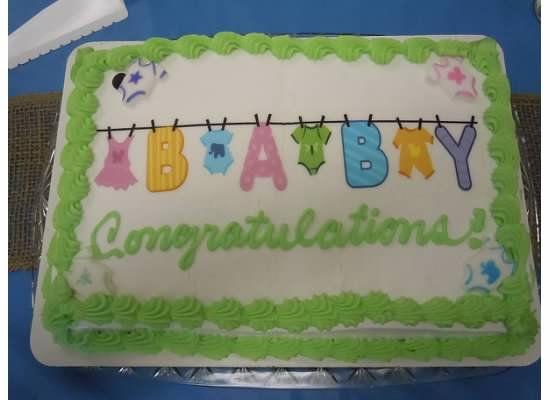Ukrop's Bakery Baby Shower Cake: Onesie Clothesline