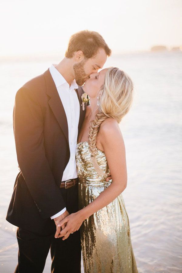 This gold wedding dress is great for an outdoor wedding. #sunshine #fishtail