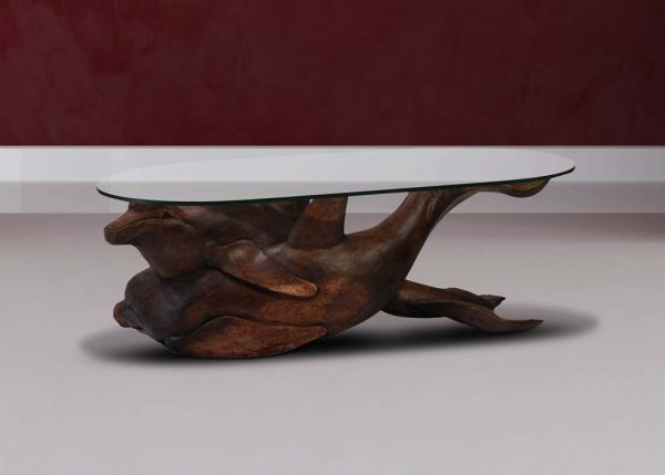 Solid Wooden Large Dolphin Coffee Table