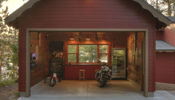 Red cabin garage home decor pinterest