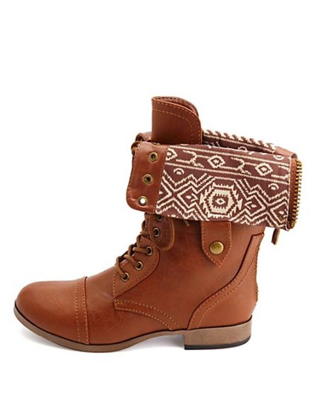 Tribal Lined Combat Boots Fold Over