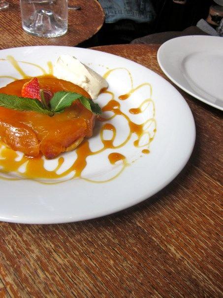 apple tarte tatin with creme fraiche and caramel drizzle. :] #apple ...