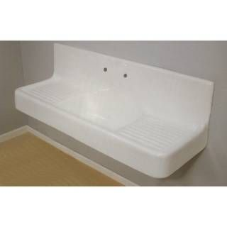 Cast Iron Farmhouse Sink White : Sign of the Crab P0812 Clarion 5 Cast Iron Farmhouse Drainboard Sink ...