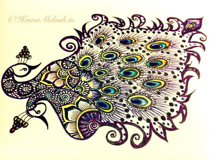 A Beautiful Peacock Drawing   My mehandi or henna designs ...