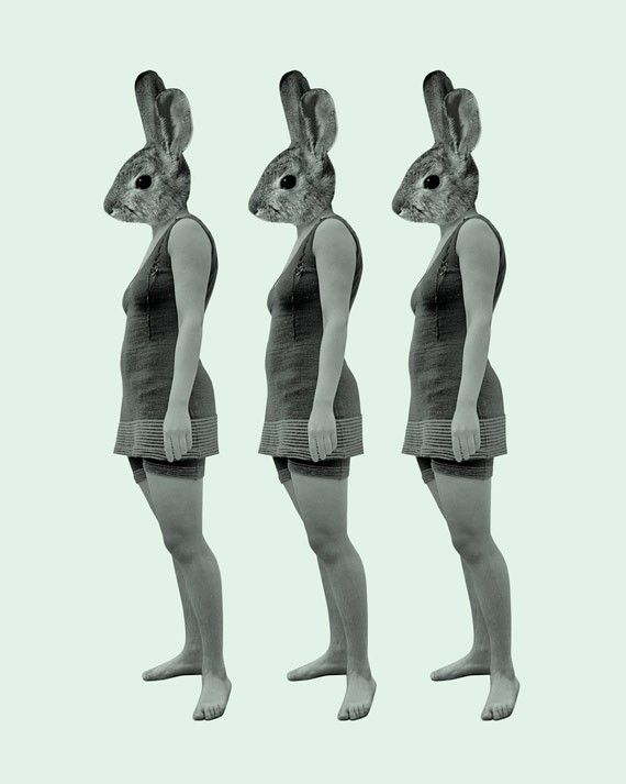 Rabbit Girl  Wood Block Art Print by LuciusArt