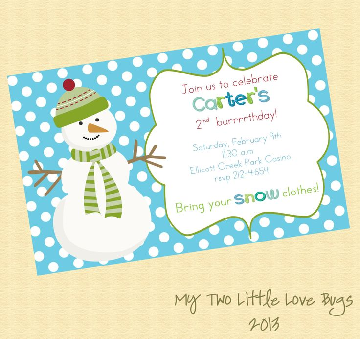 Snowman birthday party invitation printable winter birthday party