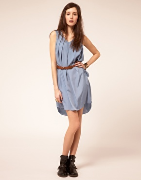 Traffic People Drape Dress With Belt