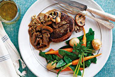 Steak with whisky mushroom sauce