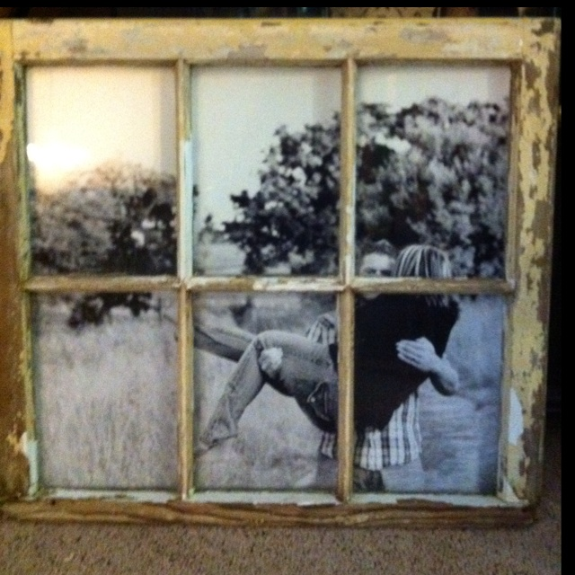 Framed picture in old window this craft ideas pinterest for Old window craft ideas