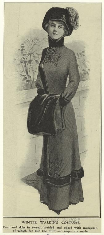Winter clothing costume. (1909)