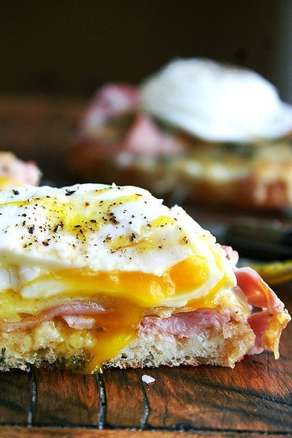Croque Monsieur with Poached Eggs Check this out at http://porkrecipe ...