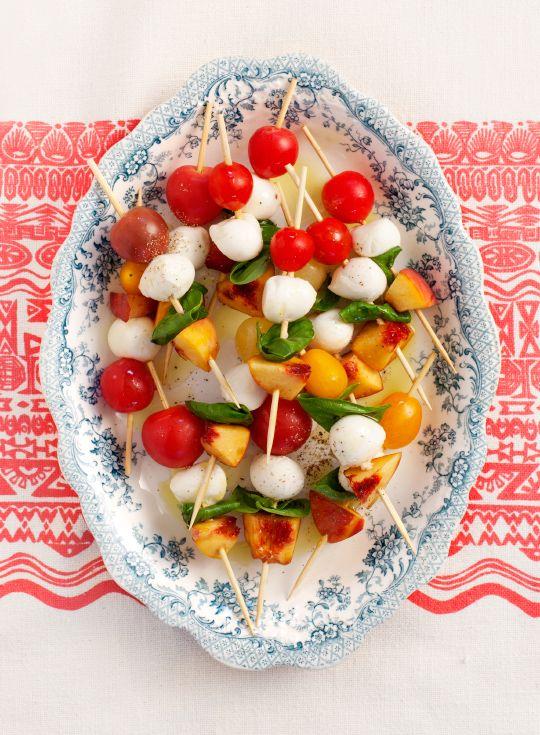 tomato basil peach skewers by @Jeanine DeOre | Love & Lemons