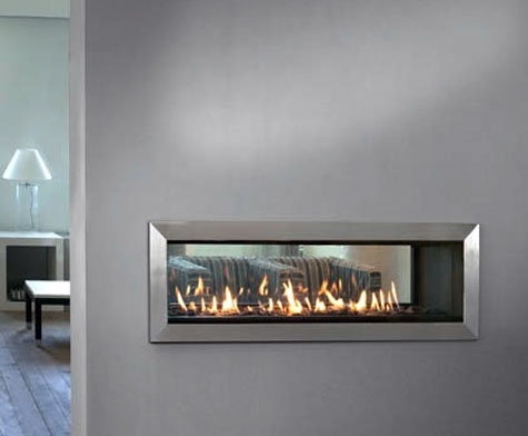 See Through Wall Fireplace Office Design Pinterest