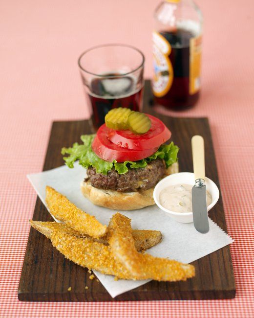 Cheddar Burgers And Crispy Oven Fries Recipe — Dishmaps