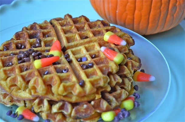 Pumpkin waffles - minus the candy - there'll be enough of that this ...