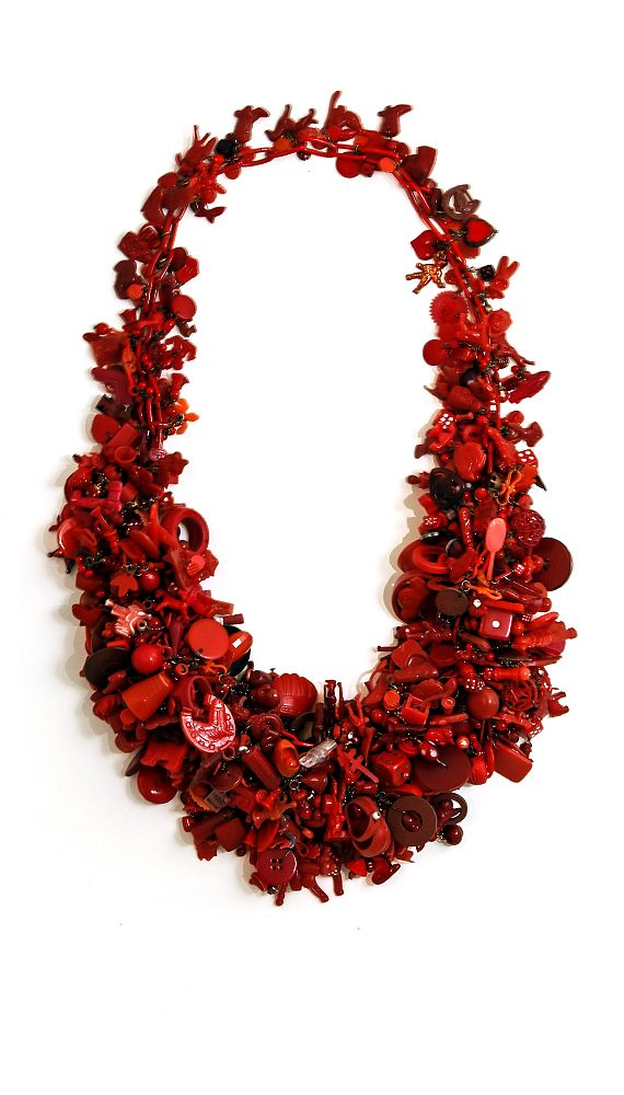 Robin Ayres – Big Red – Hundreds of vintage beads, Cracker Jack charms, game pieces, fuses, gaskets, and much, much more